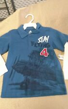 NWT boys size 3t layered look long sleeve shirt stay flying airplane