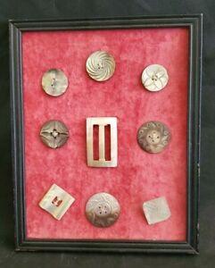 Vintage Buttons 9 Carved Mother of Pearl Original Framed Estate Find