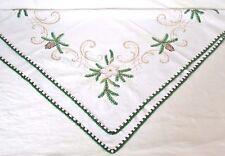 Leinen Stoff Mitteldecke Weihnachtsdecke mit Häkelborte + Christrosen bestickt