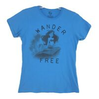 Disney ARIEL Little Mermaid WANDER FREE Tee T Shirt Womens / Juniors XL Blue SS