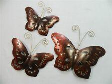 Arte de la pared de la mariposa-Mariposas De Metal, Bronce Mariposa-cobre-Juego de 3