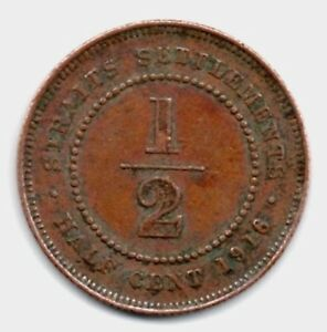 un071 Straits Settlements King George V ½ Cent Coin 1916