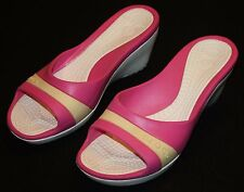 Crocs Pink Butter Yellow Slip On Crocs Shoes Heels 10 Womens Wedge