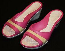 Crocs Pink Butter Yellow Slip On Crocs Shoes Heels 10 Womens Wedge