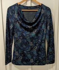 New listing Ibex 100% Zque Merino Wool Women's Long Sleeve Blue Purple Floral Print Top Sz S