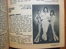 1974 TV Guide(TONY ORLANDO AND DAWN DEBUT/ELEANOR RIGER/ESTHER ROLLE/APPLE'S WAY