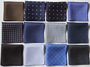 Hand printed Silk pocket square Handkerchiefs 30cm. Assorted colours & patterns
