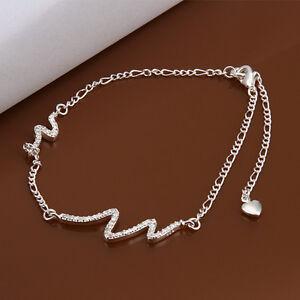 CRYSTAL DIAMOND LIGHTENING BOLT ANKLET  FIGARO CHAIN 925 Sterling Silver KPAN14