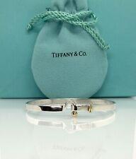 """Tiffany & Co. 925 & 18k Gold Hook Eye Bangle Bracelet 7"""" TC128"""