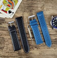 Soft Perforated Leather Watch Strap Band (Omega Olympic Style) 18 20 22 24mm