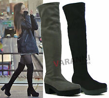 Unbranded Faux Suede Over Knee Boots Pull On Shoes for Women