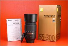 Nikon AF-S 55-300mm F4.5-5.6 VR Telephoto DX G ED AF Zoom Lens + F/R Caps & Hood