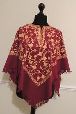 Kashmir Poncho Maroon with Gold - New - India - Ethnic (item xp10c)