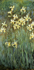 """CLAUDE MONET """"Yellow Irises"""" CANVAS OR PAPER choose SIZE, from 55cm upwards, NEW"""