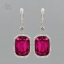 Rhodium Plated Fuchsia Crystal Rhinestone Wedding Drop Dangle Earrings 06889