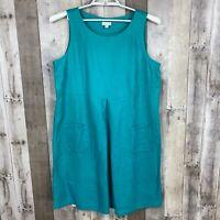 J.Jill Womens Size Large Shift Dress Blue Sleeveless Scoop Neck 100% Linen