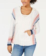 New $60 American Rag Juniors' Striped Baja White Hoodie Sweater Top Size Xl