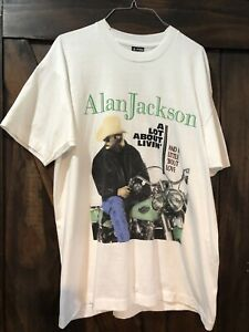 Alan Jackson T Shirt Vintage 90s 1992 A Lot About Livin Tour Made In USA Size XL