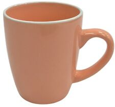 Set of 6 Peach Coloured Ceramic Extra Large Mugs Coffee Tea Mugs 380ml Soup Mug