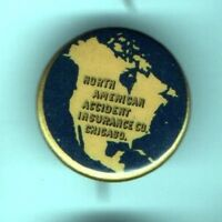 1896 pin Map North American Accident INSURANCE Co. Chicago pinback button