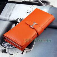 Lady Women's Belt PU Leather Long Wallet Clutch Purse Button Handbag Checkbook