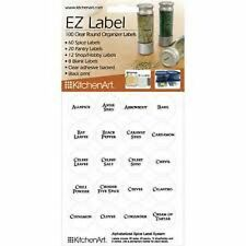 100 Clear Round Spice Pantry and Hobby Labels with Black Print for Home NEW