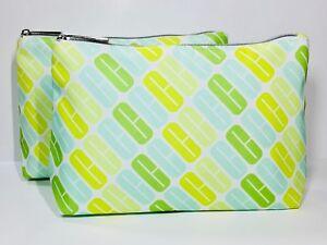 2x Clinique Cosmetic Makeup Bag (Blue, green)