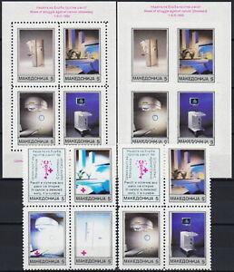 Macedonia Block (Both Types) & S/S (Perf/IMP) Cancer Week 1993 MNH-50 Euro