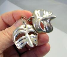 Estate Vintage Unique Large Sterling Silver Ventian Mask Dangle Pierced Earrings