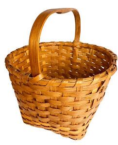 Vintage Basket Split Oak Hand Woven Handmade