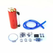 RED BILLET JDM ALUMINUM ROUND OIL CATCH TANK/CAN RESERVOIR 750ML+BRACKET+HOSE