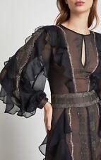 BCBG Maxazria Black/Metallic Embroidered Maxi Dress Womens Size 0 Small NWT $598