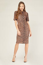 Ladies. Brown/Multi-Leopard/Animal Print Round-Neck Midi Dress..Size 10-12-14-16