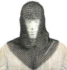 Roman Knight CHAIN MAIL CAP with Black Antique Finish Solid Ring Costume-Replica