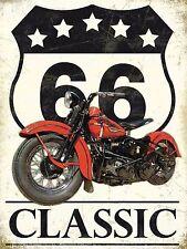 ROUTE 66 Classic Harley Moto Stile Vintage, Retrò Alluminio Metallo Muro Segno