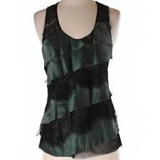 NWT Poleci Dark Green Silk Top Size 4