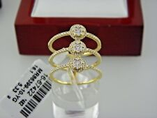 Three Bands  Ring with Diamonds 0.68Tcw in 18k Solid Yellow Gold Sz 7.5