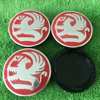 4X RED NEW VAUXHALL DESIGN ALLOYS 65MM WHEEL BADGES CENTRE CAPS