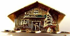 "VINTAGE 14 ct GOLD OPENING CHARM  "" CHALET WITH SLEEPING SNOW-PEOPLE IN BED """
