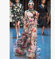 Womens Silk Blend Floral Long Sleeve Maxi Beach Dress Slim Fit Ball Gown Dresses