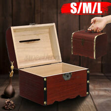 Vintage Wooden Storage Boxes Treasure Chest with Lock ^ Key for Jewelry Keepsake