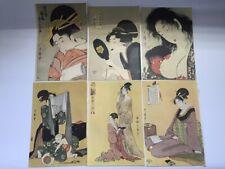Japonés Ukiyoe Estampado 6pc Vtg Kimono Kanzashi Puuntado Woman Mano Espejo