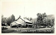 c1940 RPPC Trout Valley Lodge, Cabin City MT 21 Mineral Co. Old Gas Pumps, Cars