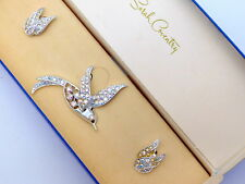 Vintage Sarah Coventry BIRD OF PARADISE All AB Rhinestone  Brooch Earrings Set