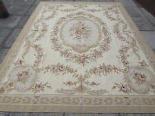 Old hand made French Design laine beige or vert original Aubusson 312X242cm
