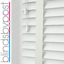 BRILLIANT WHITE With TAPES - WOOD VENETIAN BLIND - MADE TO MEASURE - 50mm Slat