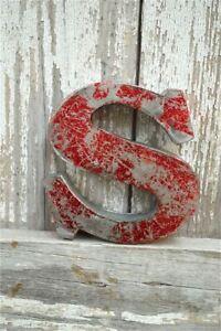 FANTASTIC VINTAGE STYLE METAL 3D RED LETTER S FONT SHOP SIGN WALL PLAQUE