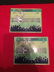 2 x Decoupage Pictures of Tennis Theme Toppers