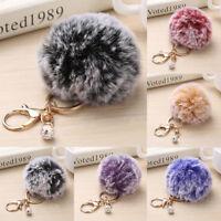 Rabbit Fur Fluffy Pompom Ball Handbag Car Pendant Charm Key Chain Keyrings Gift