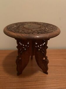 Vintage Handcrafted India Sheesham Wood Carved Inlay Table Plant Stand